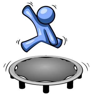 Blue Man Jumping on a Trampoline Clipart Illustration